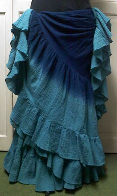 """""""Blue Lagoon"""" Double Dyed 25 Yard Skirt  You can order yours here:  http://www.paintedladyemporium.com/Shop-Here.html"""