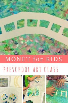 Impressionism for Kids: Finger-painting with Monet – ARTY MOMMY Introduce your little artists to Impressionism with this easy Monet finger painting project. Children preschool-aged and up will learn the basics of color theory and impressionist techniques and practices. Make Monet's famed Bridge over Water Lilies with a tape resist finger painting on canvas activity. Enjoy and have fun!