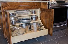 3-tiered pots and pans drawer, custom cookware storage