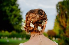 Braided bridal up hair do dresses with fresh flowers - Image by Jacqui McSweeney Photography - A beaded vintage wedding dress for a brightly coloured quirky wedding in a country pub with origami favours, hat props & bake off desserts Wedding Hair Down, Wedding Hair And Makeup, Bridal Hair, Hair Makeup, Wedding Dress, Fresh Flowers Images, Flower Images, Braided Hairstyles For Wedding, Cute Hairstyles