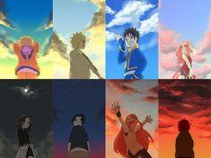 Naruto, Minato, Obito, Sakura, Rin, Sasuke, Kushina, and Gaara as kids