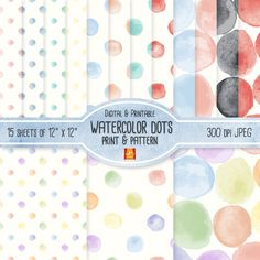 Watercolor Dot Digital Paper/ 15 Hand Painted Watercolor Polka Dot Seamless Print & Pattern/ Blog Backgrounds, Wrapping Paper, DIY Projects on Etsy, $3.09 CAD