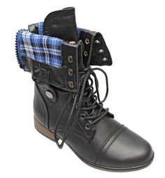 Titan Mall Legend-8 Leatherette Military Combat Boot Lace Up Foldable Women New Shoe (8.5 B(M) US, Black)