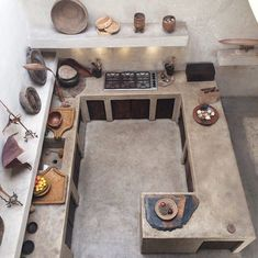 All Concrete kitchen design Rustic Kitchen, Kitchen Decor, Kitchen Modern, Kitchen Ideas, Kitchen Walls, Kitchen Shelves, Open Kitchen, Kitchen Sink, Küchen Design