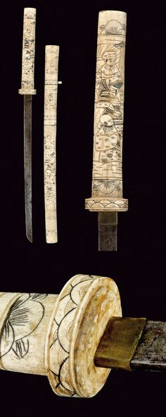 A carved wakizashi    provenance: Japan dating: late 19th Century.