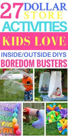 These dollar store ideas are the best to keep your kids busy this summer! Over 28 summer kids activities for boys & girls of all ages! From outdoor water and sensory play activities to indoor rainy day crafts there's plenty of dollar store hacks to keep your kids entertained all summer long! #kidsactivities #activities #summer #diy #DIYkidsgames