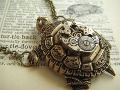 Steampunk Necklace Brass Turtle Vintage Watch Movement Nautical Sealife Jewelry Rustic Antiqued Bronze Brass Rolo Chain. $75.00, via Etsy.