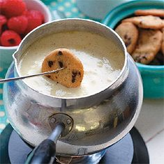 """Vanilla Bean """"Milk"""" dessert fondue -- how can you go wrong dipping a cookie in this?"""
