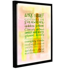 "Zipcode Design Loire Wine Saumur Framed Textual Art on Wrapped Canvas Size: 24"" H x 18"" W x 2"" D"