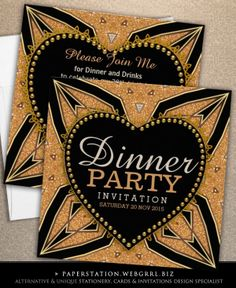 Gold & Black Love Heart Art Deco Dinner Party Invitations   customizable for any event @ paperstation #zazzle #artdeco