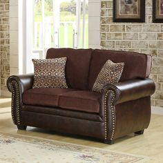 @Overstock - The transitional style of this Darian Collection loveseat is accented with contrasting fabrics, coordinating toss pillows and nail-head accents. Chocolate chenille covers the seating of the collection with dark brown bi-cast vinyl.http://www.overstock.com/Home-Garden/Darian-Chocolate-Chenille-Vinyl-Loveseat/7330095/product.html?CID=214117 $567.99