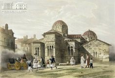 "THEODORE DU MONCEL (ζωγράφος) & J. JACOTTET (χαράκτης) ""Αθήνα: η εκκλησία της Καπνικαρέας"", λιθογραφία έγχρωμη. Συλλογή του Μουσείου της Πόλεως των Αθηνών Ιδρύματος Βούρου-Ευταξία. THEODORE DU MONCEL (painter) & J. JACOTTET (engraver)  ""Athens: the church of Kapnikarea"",  coloured lithography. Museum of the City of Athens, Vouros-Eutaxias Foundation collection."