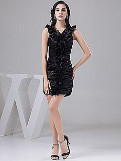 Ruffled V Neck Short Satin Column Party Dress with Pleating - USD $98.00