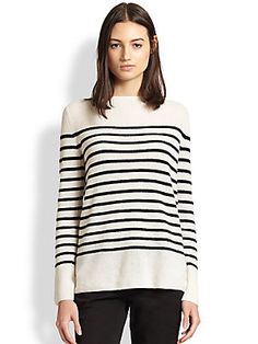 Vince Breton-Striped Ribbed Cashmere Sweater $345