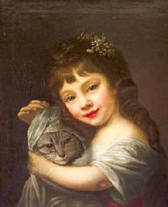 Girl With A Cat - Nathaniel Hone the Elder (Irish, 1718-1784) -