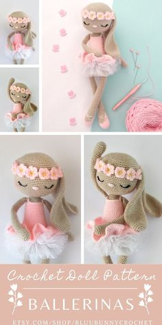 Ballerina Crochet Bunny Doll Pattern, Amigurumi Rabbit Doll with Tutu and Flowers Pattern, Bailarna Conejita Patron Bonnie Bunny from the series of Ballerinas, Amigurumi Crochet Patterns. This is a DOWNLOADABLE TUTORIAL. Written in English. Crochet Animal Amigurumi, Crochet Bunny Pattern, Crochet Dolls Free Patterns, Crochet Teddy, Cute Crochet, Amigurumi Doll, Amigurumi Patterns, Doll Patterns, Crochet Animals