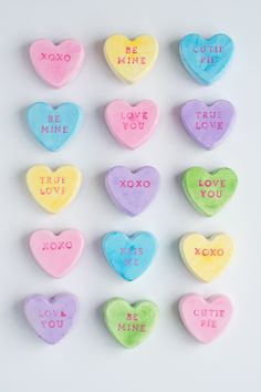 These conversation heart magnets aren't edible but are so cute!!