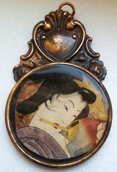 Vintage Inspired Geisha Pendant Handmade by UglyDucklingBeads, $20.00