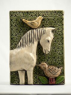 Ceramic Tile Horse with Two Birds. $65.00, via Etsy.