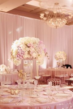 Wedding decorations - loveluxelife com Glamorous St Regis Monarch Beach Wedding Details Details Wedding and Event Planning Jana Williams Photography Bloom Box Designs Southern California Luxe and Couture Event Quinceanera Decorations, Wedding Table Flowers, Wedding Reception Decorations, Wedding Centerpieces, Wedding Colors, Wedding Venues, Themes For Quinceanera, Rose Gold Centerpiece, Wedding Tables