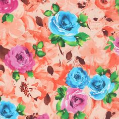 """Magenta Blue Roses on Peach Ponte de Roma Knit Fabric - Amazing floral print!  Gorgeous magenta pink and blue hue roses with green leaves on a peach orange floral background Ponte De Roma knit.  Ponte de Roma fabric is a thicker medium weight and has a nice stretch, excellent drape, and great recovery.   Fabric has a subtle horizontal texture.  Largest roses measures 3"""" (see image for scale).  Amazing designer fabric great for maxi skirts, dresses, tops, and more!  ::  $7.50"""
