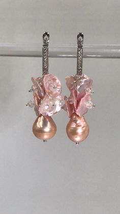 Stunning, rare blush keishi pearls dangle over pink blush baroque freshwater pearls on sterling silver pins and lever back earrings. Keishi pearls mounted with shimmering quartz crystals. by Doolittle Jewelry Wedding Earrings, Beaded Earrings, Earrings Handmade, Pearl Jewelry, Boho Jewelry, Beaded Jewelry, Freshwater Pearl Bracelet, Jewellery, Simple Jewelry