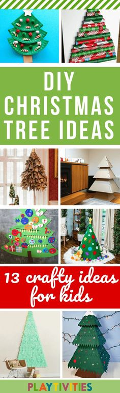 I've got you covered with 13 awesome DIY Christmas tree ideas. Simple and easy to make, won't cost you a dime and most importantly, your youngest ones will be enjoying these DIY Christmas trees very much! Christmas Tree Decorations For Kids, Cardboard Christmas Tree, Homemade Christmas Tree, Alternative Christmas Tree, Holiday Crafts For Kids, Christmas Gifts For Kids, Christmas Crafts, Christmas Ideas, Christmas Activities For Families