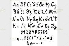 Vector alphabet. Hand drawn letters.. Script Fonts