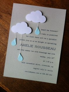 Heard the forecast? a baby is predicted!....I love this for the invite, with a little chevron mixed in