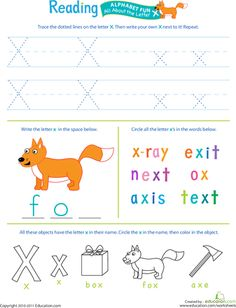 Worksheets: Get Ready for Reading: All About the Letter X
