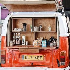 Orange VW Van - Mobile Coffee - London. Italian making coffee in London