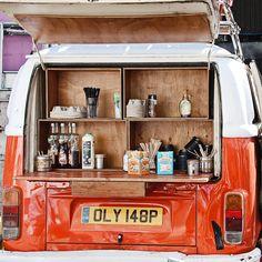 Orange VW Van - Mobile Coffee - London.  Italian making coffee in London