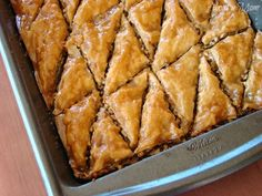 """Baklava Recipe- I had a friend in Scottsdale, AZ named Faddia. Faddia was originally from Jordan and she made a 5 Star drool worthy baklava flavored with a touch of rosewater! Can't wait to try this baklava with that """"touch"""" of rosewater! Delicious Desserts, Dessert Recipes, Yummy Food, Tarte Caramel, Greek Baklava, Turkish Baklava, Iftar, How Sweet Eats, Greek Recipes"""