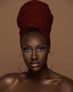 Beautiful Brown Eyes, Beautiful Black Girl, Beautiful Women, Dark Skin Makeup, Dark Skin Beauty, Black Beauty, Black Girl Magic, Black Girls, Hair Wrap Scarf