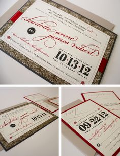2011 Professional Finalist Michelle Hickey - love this. Diy Wedding, Fall Wedding, Wedding Ideas, Red Wedding Invitations, Invites, Invitation Design, Invitation Ideas, Mailing Envelopes, Pocket Cards