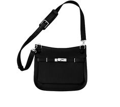 """Jypsière Unisex shoulder bag in black clemence bullcalf Measures 11"""" x8.5"""" x 5"""". Front flap closure with swivel clasp. Adjustable strap with 5 holes and a shoulder pad for comfort. Inside includes front zip pocket, back large pocket with gusset and small pocket for cell phones."""