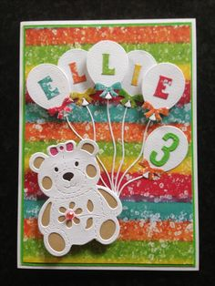 Kids balloons teddy bear birthday card