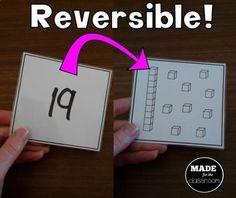 Teen Numbers Reversible Cards Math Place Value, Place Values, Elementary Math, Kindergarten Math, Teen Numbers, Number Words, Math Lessons, Math Centers, Maths