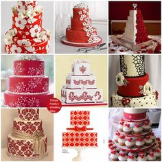 #red wedding cakes... Wedding ideas for brides, grooms, parents & planners ... https://itunes.apple.com/us/app/the-gold-wedding-planner/id498112599?ls=1=8 … plus how to organise an entire wedding, without overspending ♥ The Gold Wedding Planner iPhone App ♥
