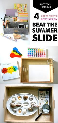 Summer Learning Activities for Kids - 4 ridiculously easy ways DAILY ROUTINES to beat the summer slide and keep your kids learning all summer long. #summerplay #summeractivities #summerslide #summerschedule #summer #summertime Quiet Time Activities, Creative Activities For Kids, Kids Learning Activities, Craft Projects For Kids, Summer Activities, Family Activities, Outdoor Activities, Montessori Activities, Summer Slide