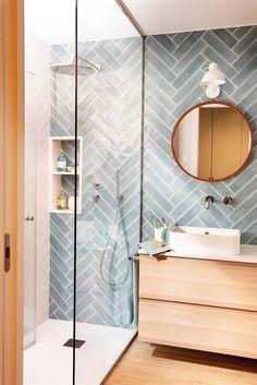 Downstairs Bathroom, Laundry In Bathroom, Bathroom With Tile Walls, Master Bathroom, Ceramic Tile Bathrooms, Master Master, Modern Bathroom Tile, Bathroom Layout, Bathroom Colors