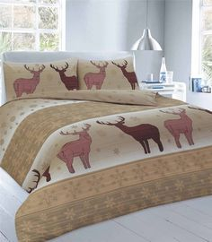 Fawn Stag Nature Printed Duvet Quilt Cover Bedding Set — Linens Range Best Linen Sheets, Bed Sheets, Pink Bedding, Luxury Bedding, Unique Bedding, Damask Bedding, Green Bedding, White Bedding, Bed Duvet Covers