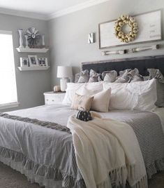 35 Amazingly Pretty Shabby Chic Bedroom Design and Decor Ideas - The Trending House Rustic Master Bedroom, Farmhouse Bedroom Decor, White Bedroom, Bedroom Brown, Bedroom Classic, Wood Bedroom, Bedroom Neutral, Bedroom Tv, Tapestry Bedroom