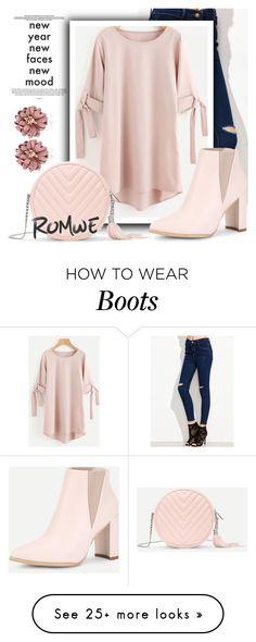 """Romwe-Rolled Sleeve Tie Dip Hem Shift Dress"" by divni on Polyvore"