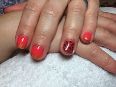 "CND Shellac ""Tropix"" with ""Glided Gleam"" additive feathered into nails. Design with ""Blackpool"" and foils."