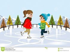 Kids Ice Skating In Nature Royalty Free Stock Photo - Image: 35590905 Kids Ice Skates, Christmas Shows, Nature Illustration, Winter Art, Winter Activities, Winter Scenes, Christmas Inspiration, Ice Skating, Royalty Free Stock Photos