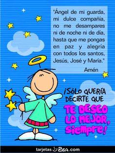 Angel de mi Guarda Spanish Prayers, Stick Art, Catholic Religion, Beautiful Prayers, My Prayer, Mother Mary, Spanish Quotes, Smurfs, Favorite Quotes