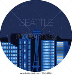 Snow-covered city before holidays in Seattle city. Colorful flat style panorama buildings of metropolis. Big city for background of games. Vector flat illustration snow falling in street