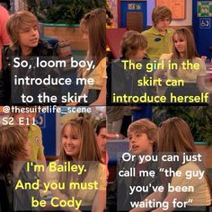 When Zack wished he didn't have a twin and they completely switched personalities. This episode killed me ahhh. Cody and Bailey were the ship but now Debby's engaged to Josh 😭 Disney Facts, Disney Memes, Disney Quotes, Zack And Cody Funny, Zack Y Cody, Disney Day, Cute Disney, Sweet Life On Deck, Old Disney Shows