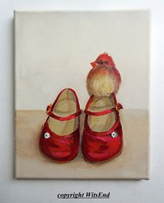 'SHE DREAMED OF GOING PLACES'. Bird Shoes painting